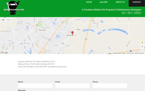 Screenshot of Contact Page serviceninjas.com - Contact - captured Dec. 11, 2016