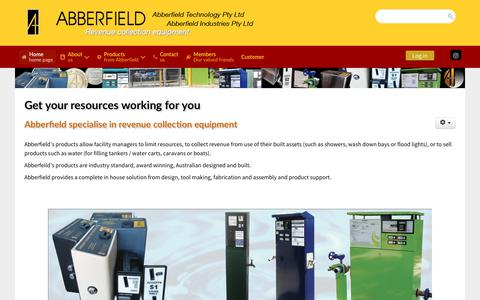 Screenshot of Home Page abberfield.com.au - Abberfield are suppliers of Revenue Collection Equipment - Abberfield Industries Pty Ltd - captured Oct. 2, 2018