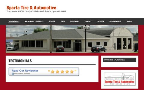 Screenshot of Testimonials Page spartatire.com - Testimonials | Sparta Tire & Automotive - captured Dec. 1, 2016