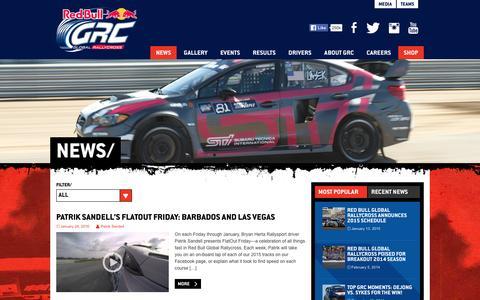Screenshot of Press Page redbullglobalrallycross.com - Red Bull Global Rallycross—News - captured Jan. 29, 2016