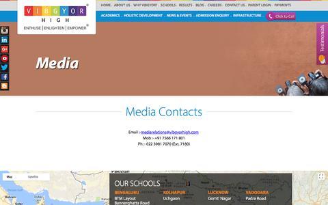 Screenshot of Press Page vibgyorhigh.com - VIBGYOR High | Media Contacts - captured Oct. 30, 2017