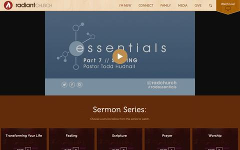 Screenshot of Services Page radiantchurch.org - Watch the Latest Service - Radiant Church - captured Oct. 27, 2014
