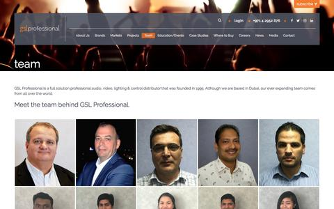Screenshot of Team Page gslprofessional.com - Team |GSL Professional | Leading Audio, Video, Lighting & Control Distributor - captured July 15, 2018