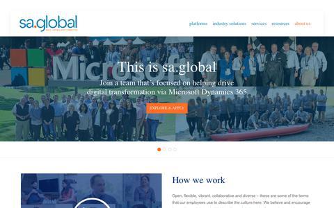 Screenshot of Jobs Page saglobal.com - Microsoft Dynamics Jobs in US | Careers - sa.global USA - captured Dec. 5, 2019