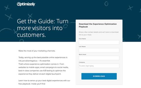 Screenshot of Landing Page optimizely.com - The Experience Optimization Playbook - captured Aug. 18, 2016