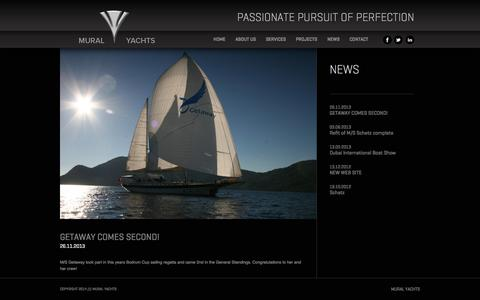 Screenshot of Press Page muralyachts.com - GETAWAY COMES SECOND!  | Mural Yachts - captured Oct. 26, 2014