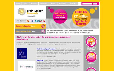 Screenshot of Support Page braintumourresearch.org - Helplines   Brain Tumour Research   Brain Tumour Helplines   Brain Tumour Treatments   Brain Cancer Helplines   Brain Cancer Fundraising   Brain Tumour Charity   Benign Brain Tumours - captured Sept. 30, 2014