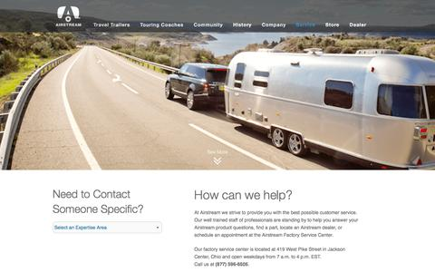 Screenshot of Support Page airstream.com - Airstream Customer Support   Airstream - captured Feb. 29, 2016