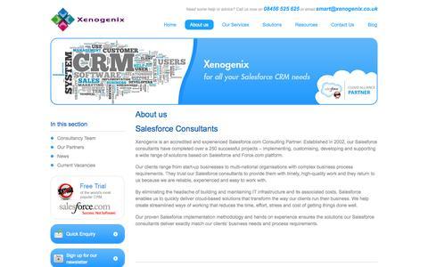 Screenshot of About Page xenogenix.co.uk - Salesforce Consultants - Salesforce Implementation, Optimisation, Development, Training & Support - captured Oct. 7, 2014