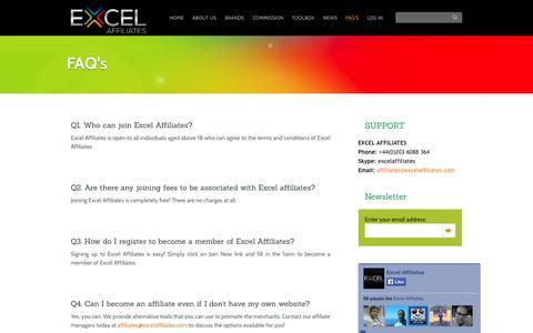 Screenshot of FAQ Page excelaffiliates.com - Excel Affiliates - FAQs - captured Sept. 24, 2014