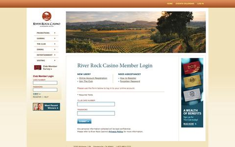 Screenshot of Login Page riverrockcasino.com - River Rock Casino – Member Login - captured Nov. 5, 2014