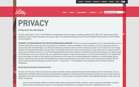 Screenshot of Privacy Page lilly.com - Privacy - captured April 4, 2016