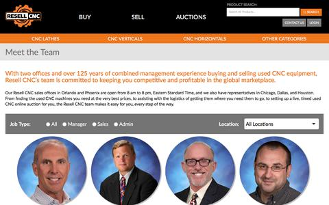 Screenshot of Team Page resellcnc.com - Meet Our CNC Experts - Resell CNC | Used CNC Dealer - captured Sept. 21, 2018