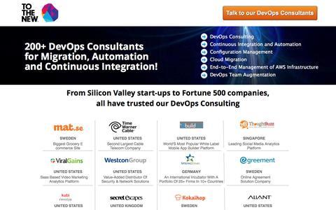 Screenshot of Landing Page tothenew.com - DevOps Consultants, DevOps Consulting Services,  DevOps Consulting Company - captured Nov. 2, 2016