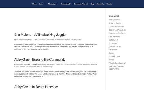 Screenshot of Blog timebanks.org - TDIblog | TimeBanks USA - captured July 6, 2017