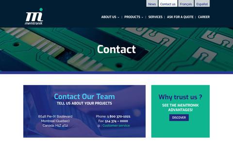 Screenshot of Contact Page memtronik.com - Contact us | Memtronik - captured Oct. 17, 2018