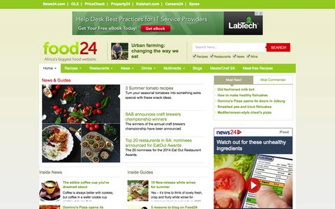 Screenshot of Press Page food24.com - Food News - Cooking Guides - Ingredients - Directories | Food24.com - captured Oct. 30, 2014