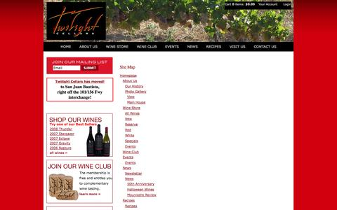 Screenshot of Site Map Page twilightcellars.com - Twilight Cellars - Site Map - captured Sept. 30, 2014