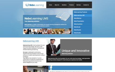 Screenshot of Products Page nebolearning.com - eLearning LMS - Products / NeboLearning LMS | NeboLearning - captured Oct. 27, 2014