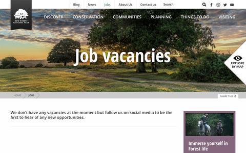 Screenshot of Jobs Page newforestnpa.gov.uk - Jobs - New Forest National Park Authority - captured Nov. 7, 2018
