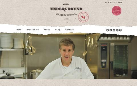 Screenshot of About Page undergroundcookeryschool.com - About - Underground Cookery School - captured Feb. 26, 2016