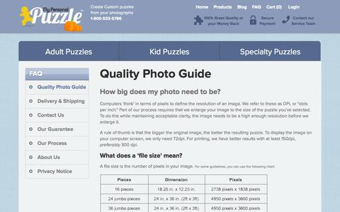 Screenshot of FAQ Page mypersonalpuzzle.com - My Personal Puzzle :: Quality Photo Guide - captured Oct. 26, 2014