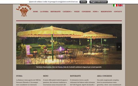 Screenshot of Home Page labulesca.com - Ristorante Padova, Centro Congressi Padova, Catering Nozze Padova – La Bulesca - captured Oct. 13, 2015