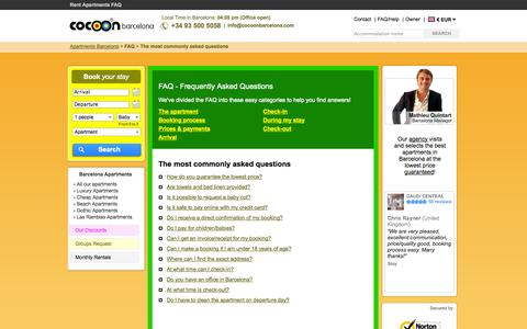 Screenshot of FAQ Page cocoonbarcelona.com - FAQ | Cocoon Barcelona | Frequently asked questions - captured Sept. 24, 2014