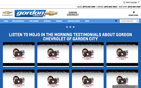 Screenshot of Testimonials Page gordonchevrolet.com - Gordon Chevrolet is a Garden City Chevrolet dealer and a new car and used car Garden City MI Chevrolet dealership - Testimonials - captured Sept. 29, 2018