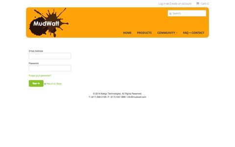 Screenshot of Login Page mudwatt.com - Account – MudWatt - captured Nov. 3, 2014