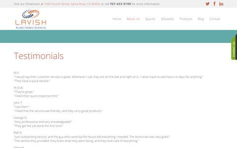 Screenshot of Testimonials Page lavishautomation.com - Testimonials - captured July 16, 2018