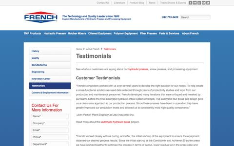 Screenshot of Testimonials Page frenchoil.com - Customer Testimonials for French's Hydraulic Presses, Screw Presses & Processing Equipment   French Oil - captured Oct. 6, 2014