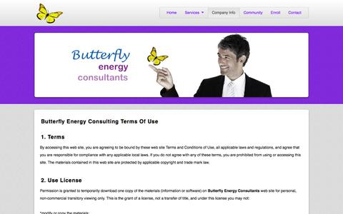 Screenshot of Terms Page butterflyesco.com - Terms | Butterfly Energy Consulting - captured Oct. 5, 2014