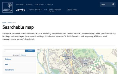 Screenshot of Maps & Directions Page ox.ac.uk - Searchable map | University of Oxford - captured Aug. 20, 2016
