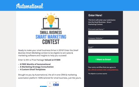 Screenshot of Landing Page automational.com - Small Business Smart Marketing Contest - captured Oct. 22, 2016