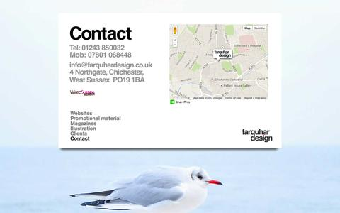 Screenshot of Contact Page farquhardesign.co.uk - Contact us   Farquhar Design   Chichester - captured Sept. 30, 2014