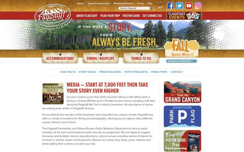 Screenshot of Press Page flagstaffarizona.org - Media - Flagstaff, Arizona CVB - captured Oct. 10, 2018