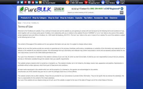 Screenshot of Terms Page purebulk.com - Terms of Use - PureBulk, Inc. - captured Sept. 22, 2014