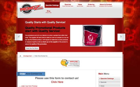 Screenshot of Contact Page promoz.com - Order Now-Contact Us   Promotional Products by Promoz - captured July 17, 2016