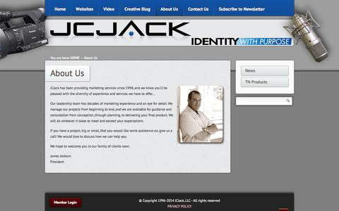 Screenshot of About Page jcjack.com - About Us - captured Sept. 30, 2014