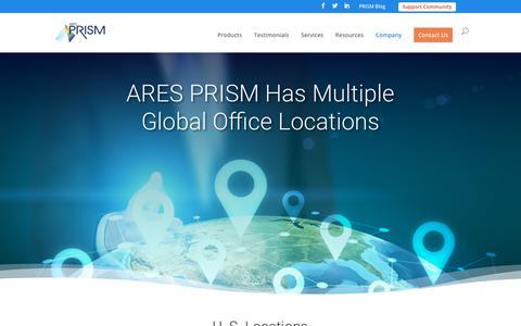 Screenshot of Locations Page aresprism.com - Locations | ARES PRISM - captured Jan. 18, 2019