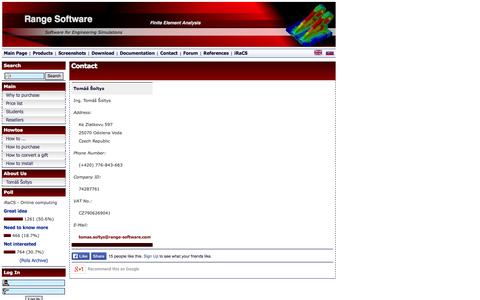 Screenshot of Contact Page range-software.com - Range Software :: Contact - captured Oct. 7, 2014