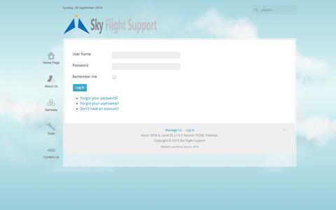 Screenshot of Login Page skyflightsupport.com - Log in - captured Sept. 29, 2014