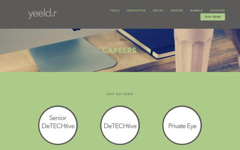 Screenshot of Jobs Page yeeldr.com - Careers — yeeldr | Scalable Recruiting for Hyper-Growth Startups - captured Aug. 16, 2015