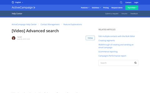 Screenshot of Support Page activecampaign.com - [Video] Advanced search – ActiveCampaign Help Center - captured June 18, 2019