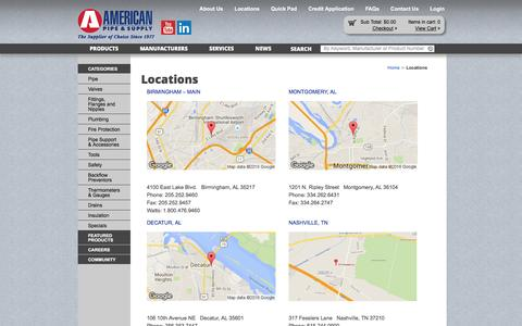 Screenshot of Locations Page americanpipe.com - Locations | American Pipe and Supply - captured Feb. 6, 2016