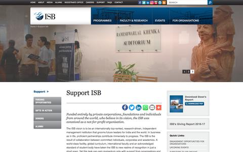 Screenshot of Support Page isb.edu - Support ISB | Not-for-profit Organisation | Indian School of Business (ISB) - captured Sept. 22, 2018