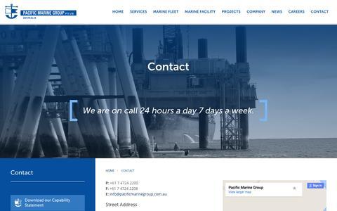 Screenshot of Contact Page pacificmarinegroup.com.au - Pacific Marine Group |  Contact Us - captured Dec. 6, 2015