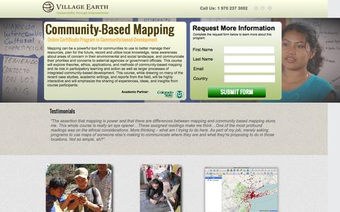 Screenshot of Landing Page villageearth.org - Community-Based Mapping Online Training @ Duke & CSU | Village Earth - captured May 20, 2016