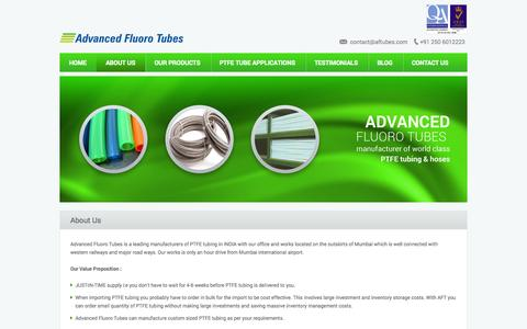 Screenshot of About Page aftubes.com - Advanced Fluoro Tubes » About Us - captured Nov. 2, 2014